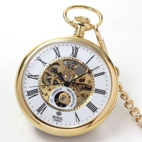 10倍ポイント/ROYAL LONDON(ロイヤルロンドン)  スケルトン懐中時計  90049-02  正美堂オリジナル懐中時計専用ケース(ブラウン)のセット[正規輸入品]