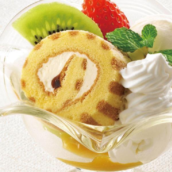 冷凍食品 業務用 ロールケーキ (カスタード) 200g (カットなし) 10993 ストライプ柄 冷凍 洋菓子 ケーキ