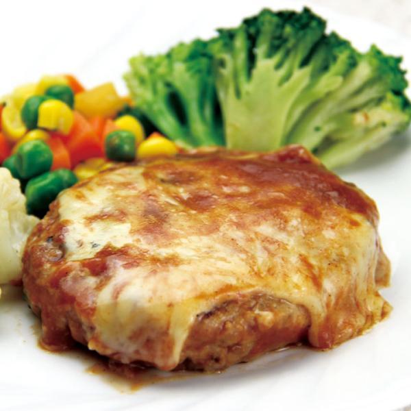 冷凍食品 業務用 チーズトマトハンバーグ 130g (正味115g、タレ15g) 13732 弁当 ジューシー感 柔らかい マッシュデミソースハンバーグ