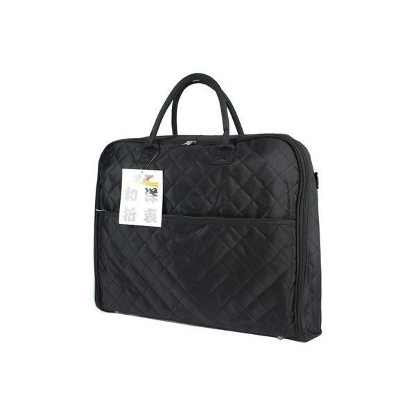 着物バッグ 和洋兼用スーツ・きもの収納バッグ(ショルダー付) 男女兼用 キルティング(黒) Aタイプ