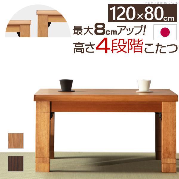 送料無料 4段階 高さ調節 折れ脚 こたつ カクタス 120x80cm  こたつテーブル