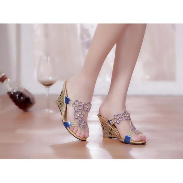 レディース美足サンダル 靴  大人可愛いフラワーウェッジソール  結婚式 二次会 お呼ばれ ミュール  ビジュー   痛くない 2色|syouya-store|02
