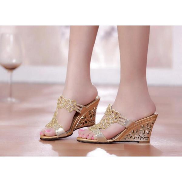 レディース美足サンダル 靴  大人可愛いフラワーウェッジソール  結婚式 二次会 お呼ばれ ミュール  ビジュー   痛くない 2色|syouya-store|05