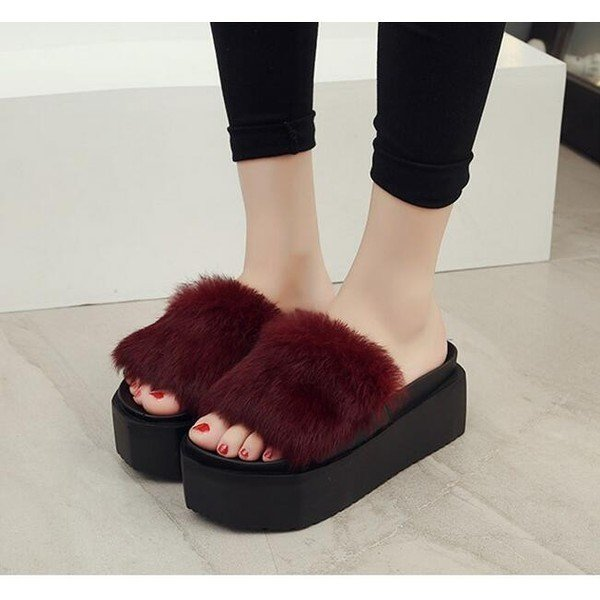 レディースシューズ婦人靴 秋物新作もこもこ 厚底サンダル軽量フェイクファー サンダル ヒール ふわふわ コンフォートスリッパ|syouya-store|04
