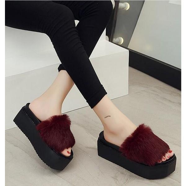 レディースシューズ婦人靴 秋物新作もこもこ 厚底サンダル軽量フェイクファー サンダル ヒール ふわふわ コンフォートスリッパ|syouya-store|05