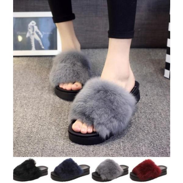 サンダル ファーサンダル 婦人靴 秋物新作もこもこ 厚底サンダル レディース  秋サンダル  ファー付|syouya-store