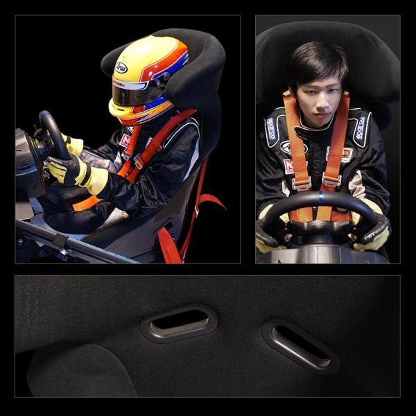 ハンコン レーシングコックピットベース フルバケットシート付き コクピット 4点式シートベルト付き[ハンドルコントローラー レースゲーム PS4 PS3]|syumicolle|04