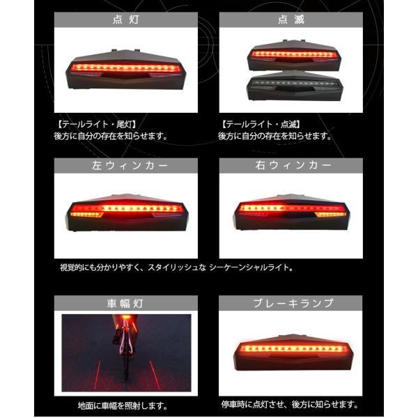 自転車用 LEDウィンカー 充電式 テールライト 指示器 ロードバイク サイクル syumicolle 04