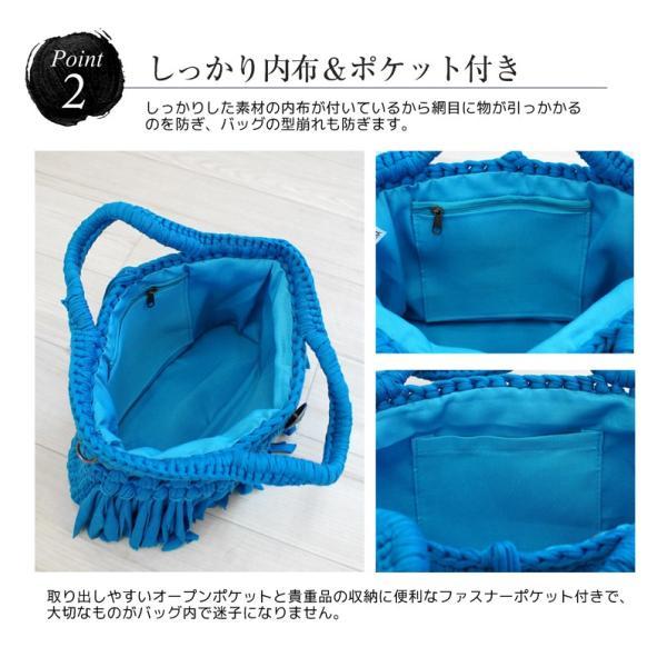 Tシャツヤーンバッグ マクラメバッグ 2way トートバッグ ハンドバッグ ショルダーバッグ マクラメ編み syumicolle 06
