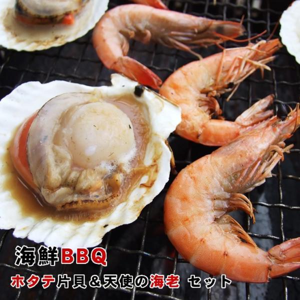 バーベキュー BBQセット 海鮮バーベキュー エビ & ホタテ貝 :10人前 送料無料  天使の海老×10尾&ホタテ片貝10個セット 冷凍