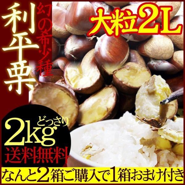栗 くり 利平栗  2Lサイズ 約2kg 送料無料 冷蔵便 岡山県産* 1配送先で2箱購入で1箱おまけ