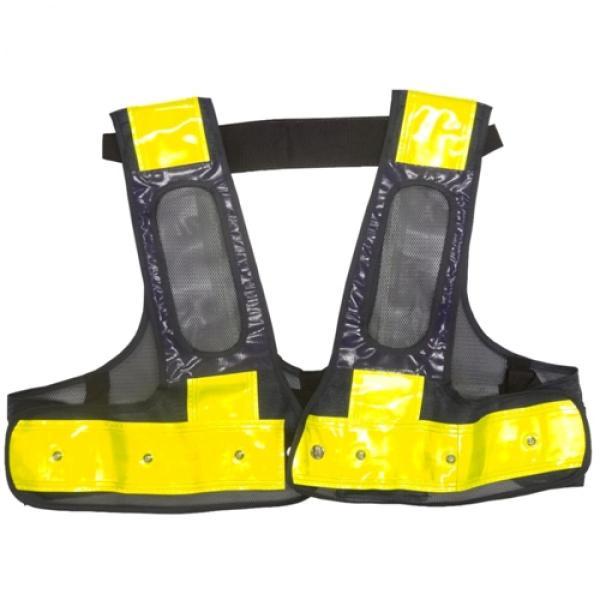 ミズケイ 役立-ツ 5941122 フルハーネス用LED安全ベスト/赤LED『装着できるんです』 F 紺/黄