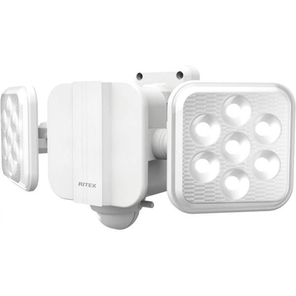 ムサシ RITEX フリーアーム式 LED 高機能 センサーライト (5W×2灯) 「ソーラー式」 S-220L  ホワイト センサーライト 防犯 防犯対策