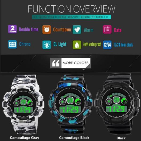 スポーツ腕時計 LEDライト デジタル 腕時計 ミリタリー 耐久性 スポーツ ランニング アウトドア 男女兼用 メンズ レディース カモフラージュ|t-a|09