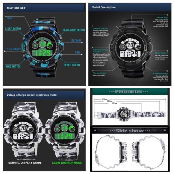 スポーツ腕時計 LEDライト デジタル 腕時計 ミリタリー 耐久性 スポーツ ランニング アウトドア 男女兼用 メンズ レディース カモフラージュ|t-a|10