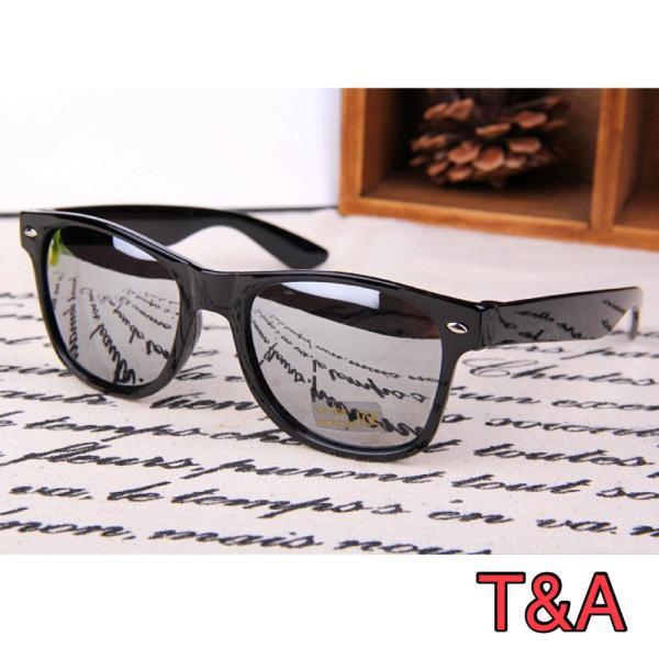 人気 ウェリントン型 ミラーサングラス ミラーレンズ   UV400 紫外線カット 日焼け対策 ブラック & シルバー メンズ レディース|t-a