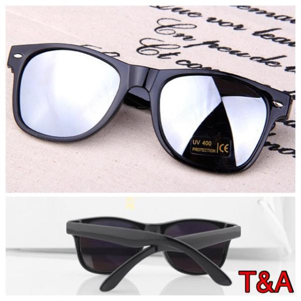 人気 ウェリントン型 ミラーサングラス ミラーレンズ   UV400 紫外線カット 日焼け対策 ブラック & シルバー メンズ レディース|t-a|02