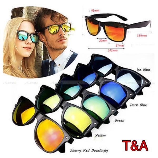 人気 ウェリントン型 ミラーサングラス ミラーレンズ   UV400 紫外線カット 日焼け対策 ブラック & シルバー メンズ レディース|t-a|03