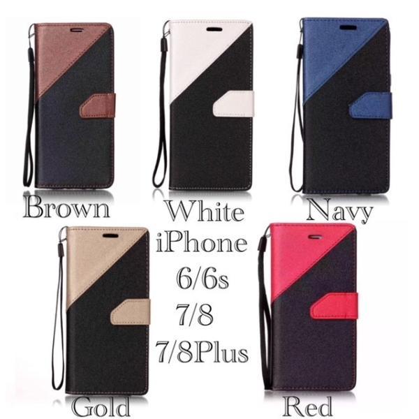 iPhone7 iPhone8 iPhone7 8 PLUS iPhone6 6s 手帳型ケース レザー ツートンカラー おしゃれ 液晶フィルム付き スマホカバー シンプル 5Color|t-a