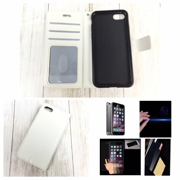 iPhone6 iPhone 6S iPhone  手帳型4.7レザーケース+強化保護フィルム付き 白 収納 2 オシャレ スマホカバー 携帯ケース  ホワイト|t-a|03