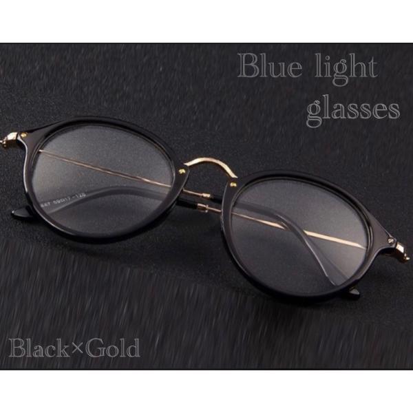 ボストン メガネ ブルーライトカット 伊達眼鏡 丸型 オシャレサングラス  PCメガネ UVカット ファッション眼鏡|t-a|02