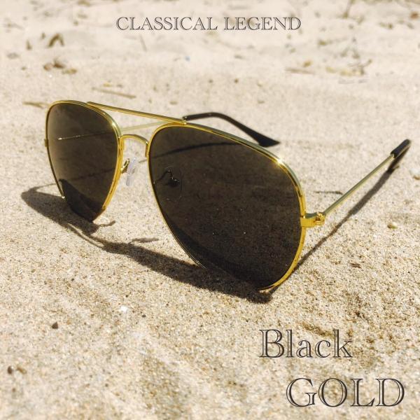 ティアドロップ サングラス スモーク ゴールドフレーム ミラーレンズ ティアドロップ  UV400 紫外線カット 海 メンズ レディース 金 ブラック|t-a