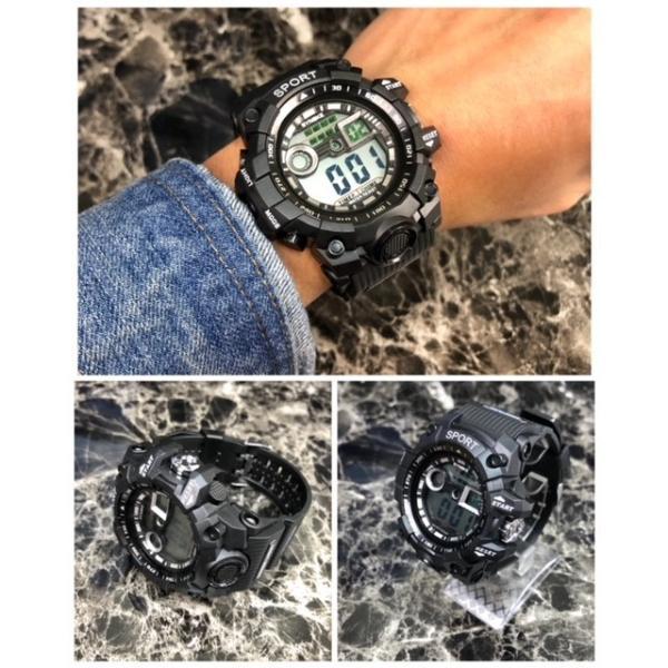 腕時計 スポーツ時計 デジタル時計 ミリタリー 耐久性 スポーツ  アウトドア ランニング アウトドア キャンプ アクリルケース ブラック|t-a|03