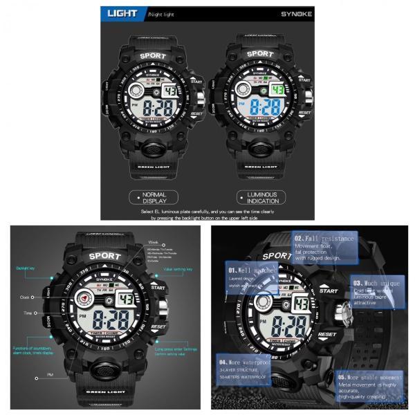 腕時計 スポーツ時計 デジタル時計 ミリタリー 耐久性 スポーツ  アウトドア ランニング アウトドア キャンプ アクリルケース ブラック|t-a|05