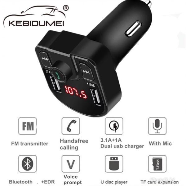 Bluetooth FMトランスミッター 音楽再生 USB 充電器 二台充電 ハンズフリースマホ iPhone アンドロイド SDカード ブラック|t-a|02