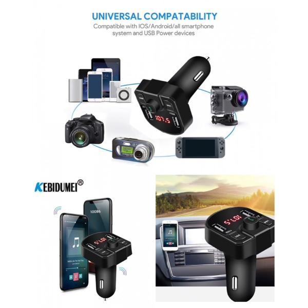 Bluetooth FMトランスミッター 音楽再生 USB 充電器 二台充電 ハンズフリースマホ iPhone アンドロイド SDカード ブラック|t-a|04