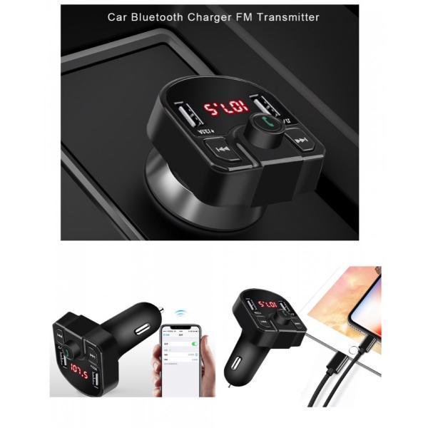 Bluetooth FMトランスミッター 音楽再生 USB 充電器 二台充電 ハンズフリースマホ iPhone アンドロイド SDカード ブラック|t-a|05