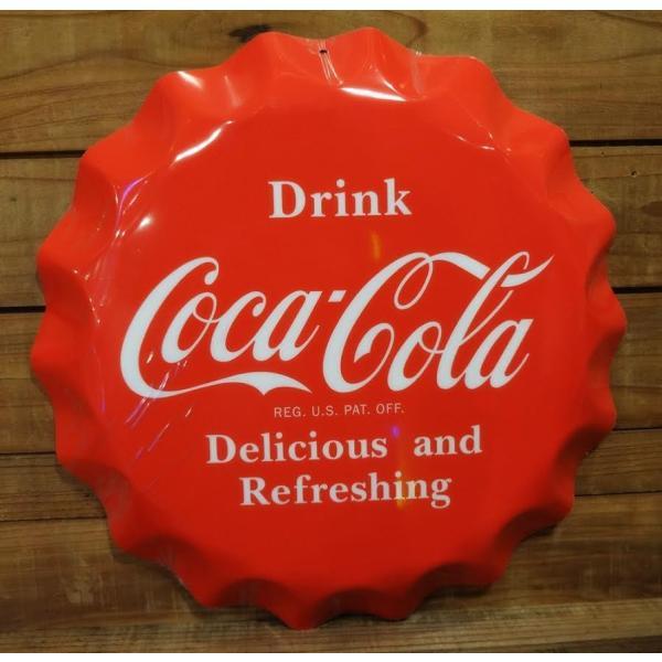 看板コカコーラボトルキャップ型サイン ■ ティンサイン サインプレート ダイナー ディスプレイ インテリア ガレージ アメリカン雑貨
