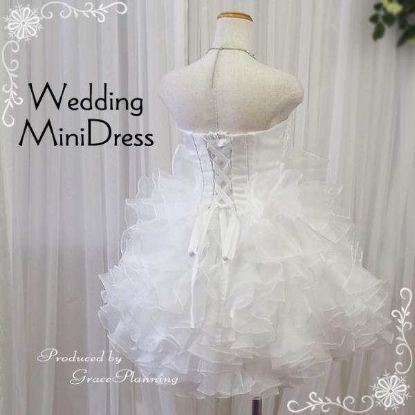ウエディングドレス ミニドレス 結婚式 2次会 ウェディング パーティドレス 人気 花嫁 オフホワイト リボン フリル g2230-3 t-bright 03