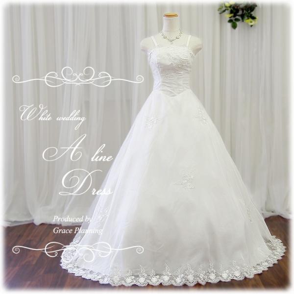 ウエディングドレス ウェディングドレス シースルーレース 裾刺繍 7号