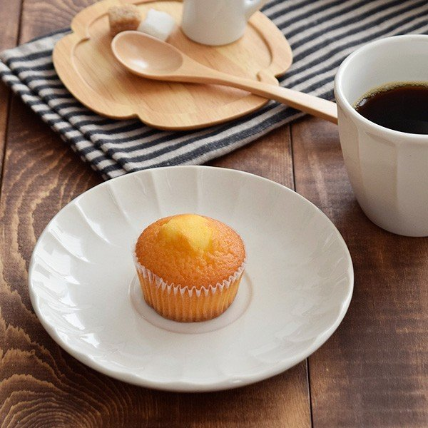 ソーサー 14.5cm しのぎ ミルク 皿 プレート 中皿 ケーキ皿 お菓子 皿 カップ&ソーサー 洋食器 白い食器 モダン おしゃれな食器 おうちCafe