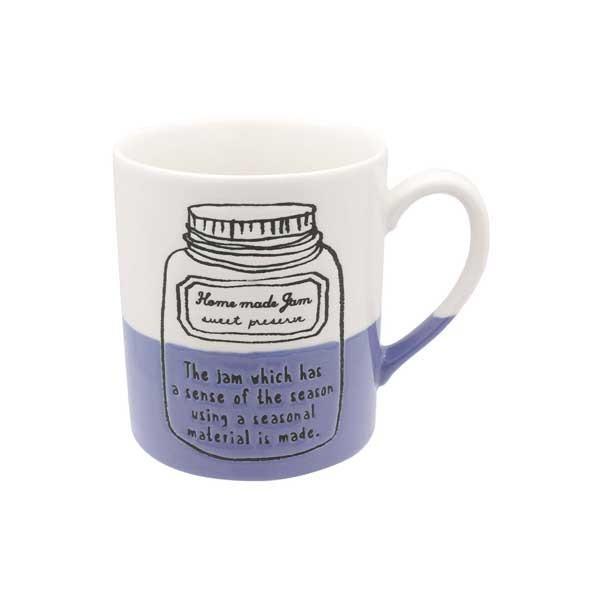 マグカップ ジャム ブルーベリーコーヒーカップ マグ カップ コップ イラスト 半磁器 電子レンジ対応 カフェ食器 おうちCafe おしゃれ かわいい