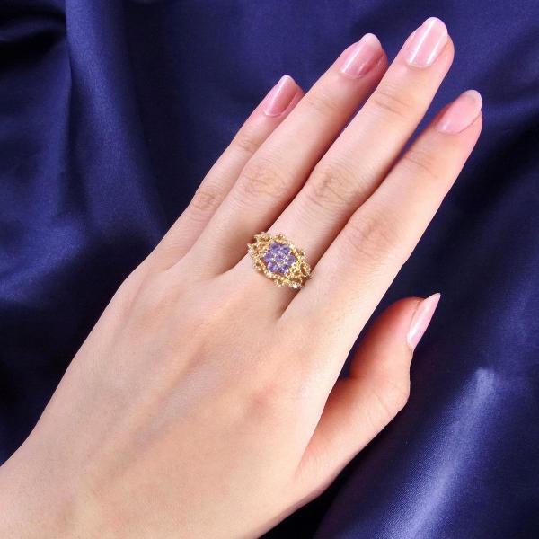 タンザナイト 指輪 リング レディース フラワー 花 天然石 ホワイトトパーズ ミル打ち 透かし レース