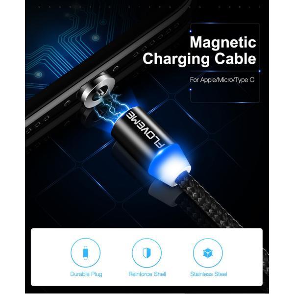 iPhone 充電ケーブル タイプC android microUSB Type-C アンドロイド 充電 光る マグネット式 充電器 ケーブル|t-gshop|02