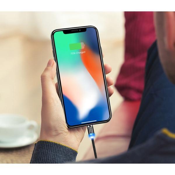 iPhone 充電ケーブル タイプC android microUSB Type-C アンドロイド 充電 光る マグネット式 充電器 ケーブル|t-gshop|11