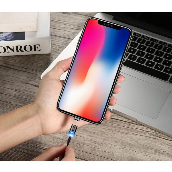 iPhone 充電ケーブル タイプC android microUSB Type-C アンドロイド 充電 光る マグネット式 充電器 ケーブル|t-gshop|10