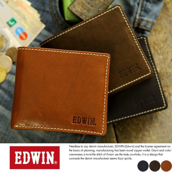 EDWIN エドウィン 二つ折り財布 メンズ 本革 小銭入れあり|t-style
