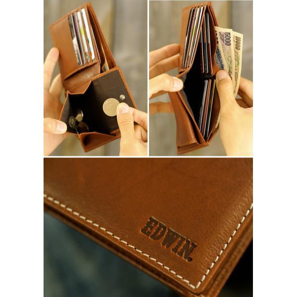 EDWIN エドウィン 二つ折り財布 メンズ 本革 小銭入れあり|t-style|06