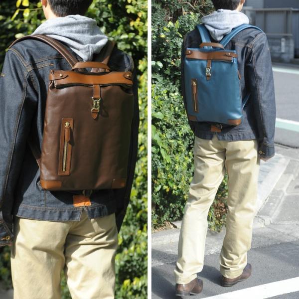 豊岡鞄 スリムリュック PU帆布 メンズ 日本製 A4ファイル Walk Line ...
