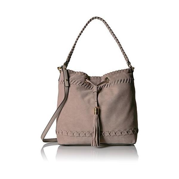 MILLY Astor スエード Whipstitch Bucket Bag, ストーン(海外取寄せ品)