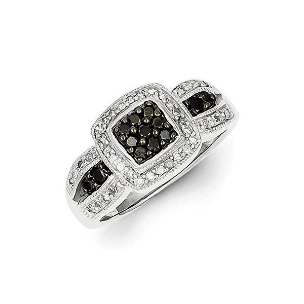 1/2 Ctw (I2-I3 clarity) ブラック & H-I ホワイト ダイヤモンド スクエア Tapered リング スタ(海外取寄せ品)