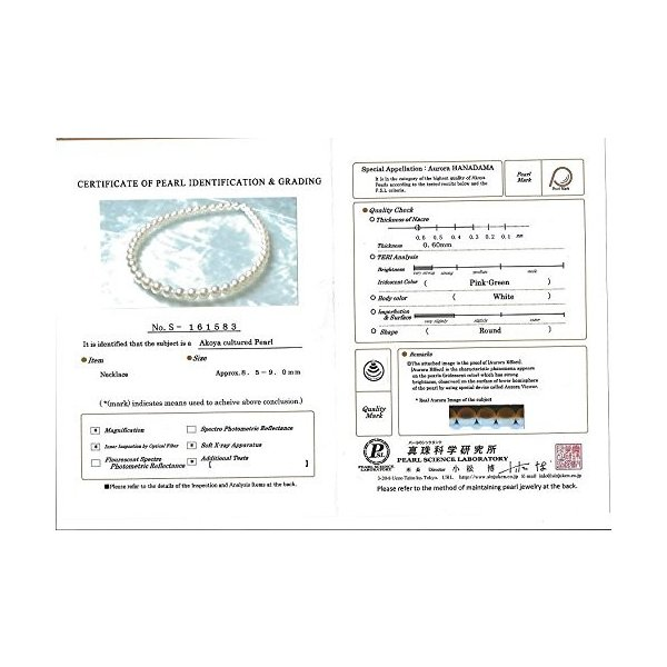 14K ゴールド 8.5-9.0mm Hanadama Japanese Akoya Saltwater ホワイト Cultured(海外取寄せ品)