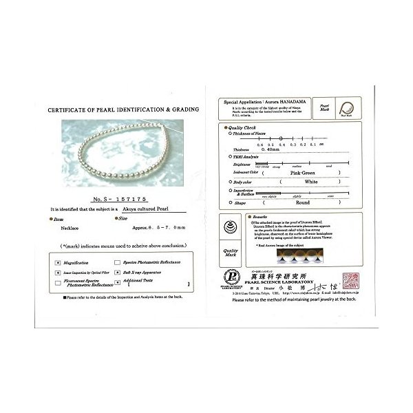 14K ゴールド 6.5-7.0mm Hanadama Japanese Akoya Saltwater ホワイト Cultured(海外取寄せ品)