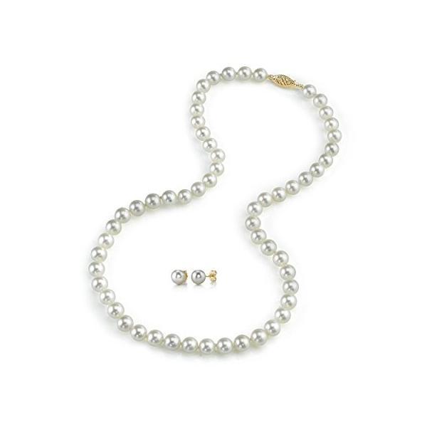 14K ゴールド 7.0-7.5mm Japanese Akoya ホワイト Cultured パール ネックレス & Earrin(海外取寄せ品)