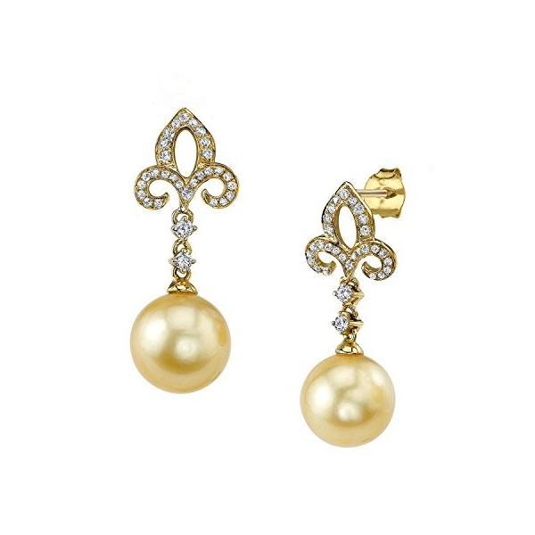 ゴールデン サウス シー Cultured パール & ダイヤモンド Caroline Earrings in 14K ゴールド(海外取寄せ品)