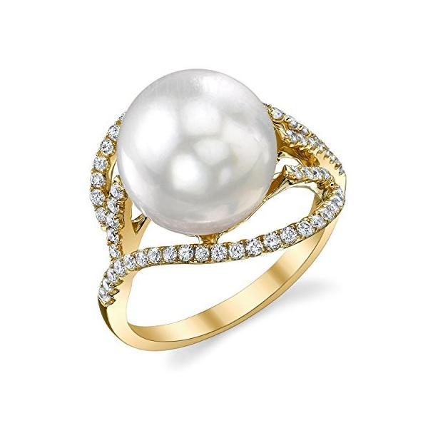11mm ホワイト サウス シー Cultured パール & ダイヤモンド ソフィア リング in 18K ゴールド(海外取寄せ品)